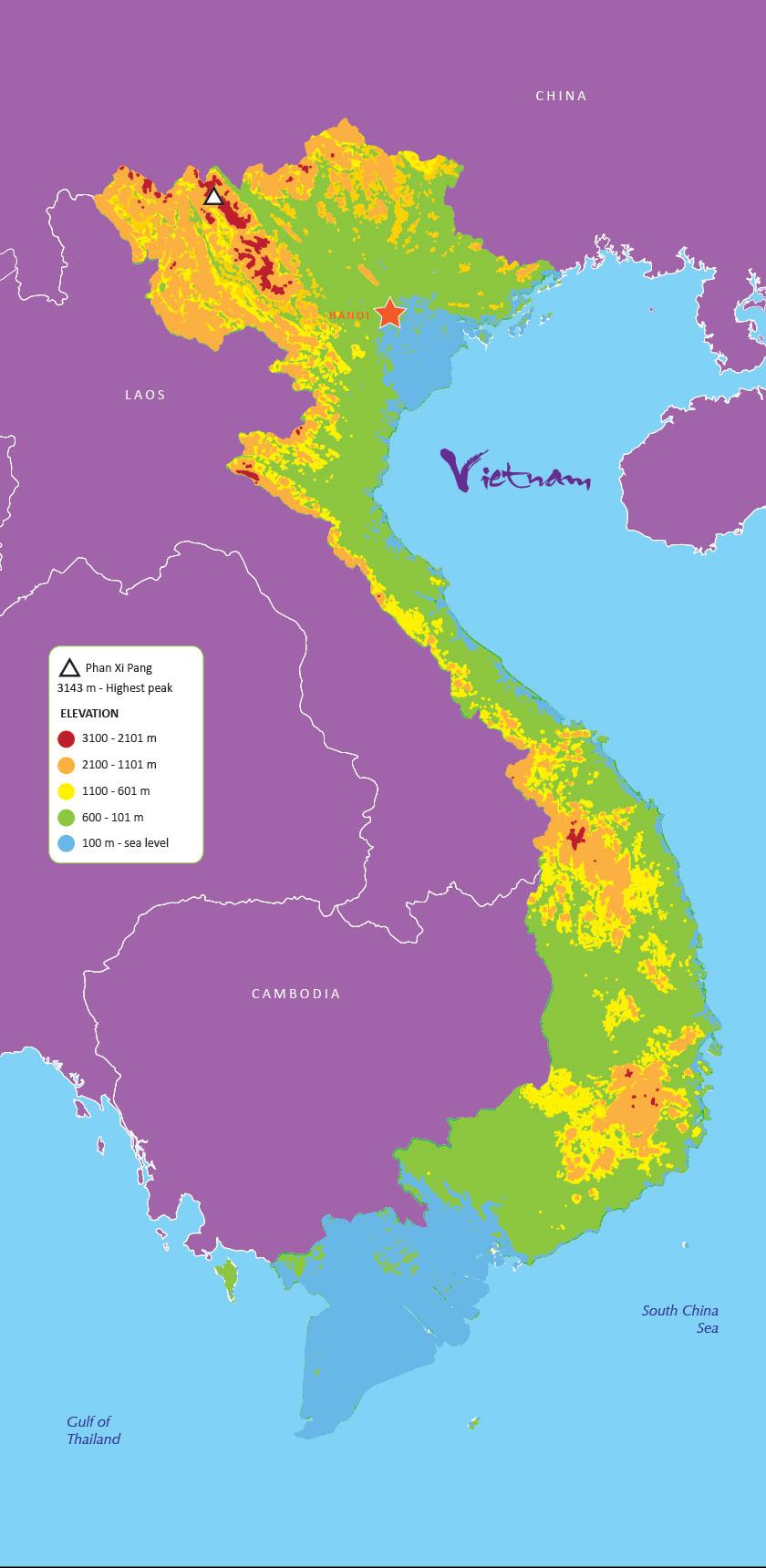 Mountains In Vietnam Map.Elevation Voyage To Vietnam